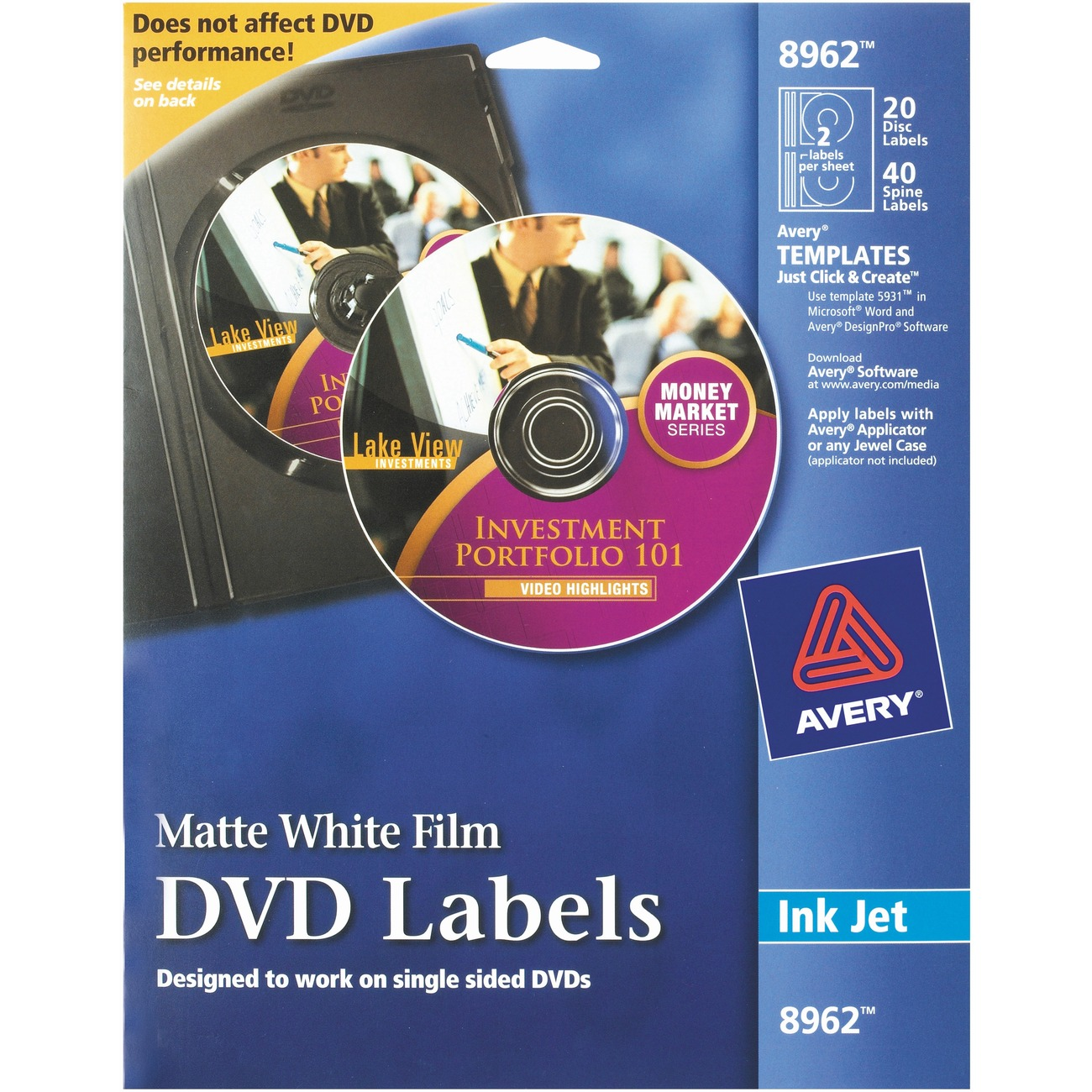 Ave8962 Avery Film Dvd Labels With 40 Spine Labels Office Advantage