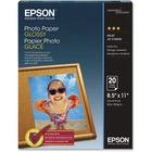 "Epson Inkjet Print Photo Paper - Letter - 8 1/2"" x 11"" - 52 lb Basis Weight - Glossy - 20 / Pack - White"