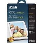 "Epson Inkjet Print Photo Paper - 97% Opacity - 5"" x 7"" - 68 lb Basis Weight - High Gloss - 20 / Pack - White"