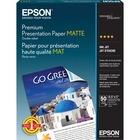 "Epson Inkjet Print Presentation Paper - 91% Opacity - Letter - 8 1/2"" x 11"" - 44 lb Basis Weight - Matte - 50 / Pack - White"