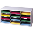 "Fellowes 12-Compartment Sorter Literature Organizer - 12 Compartment(s) - Compartment Size 2.50"" (63.50 mm) x 9"" (228.60 mm) x 11.63"" (295.27 mm) - 12.9"" Height x 29"" Width x 11.9"" Depth - Dove Gray - Particleboard - 1Each"