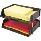 """Deflecto Industrial Tray Side-Load Stacking Tray - 1500 x Sheet - 2 Tier(s) - 3.5"""" Height x 16.5"""" Width x 11.8"""" Depth - Black - Plastic - 2 / Set"""