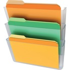 """Deflecto Stackable DocuPocket - 3 Pocket(s) - 3 Compartment(s) - 14"""" Height x 13"""" Width x 4"""" Depth - Clear - 3 / Set"""