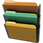 "Deflecto Stackable DocuPocket Set - 3 Pocket(s) - 14"" Height x 13"" Width x 4"" Depth - Smoke - 3 / Set"