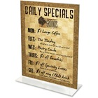 "Deflecto Classic Image Double-Sided Sign Holder - 1 Each - 8.50"" (215.90 mm) Width x 11"" (279.40 mm) Height - Rectangular Shape - Self-standing, Bottom Loading - Plastic - Clear"