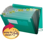 "Smead Ultra Color Expanding Transport Files - Letter - 8 1/2"" x 11"" Sheet Size - 7/8"" Expansion - 12 Pocket(s) - 12 Divider(s) - Poly - Green - 335.7 g - 1 / Each"