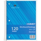 """Sparco Quality Wirebound Wide Ruled Notebooks - 120 Sheets - Wire Bound - Wide Ruled - Unruled - 16 lb Basis Weight - 8"""" x 10 1/2"""" - Bright White Paper - Assorted Cover - Chipboard Cover - Resist Bleed-through, Subject, Stiff-cover, Stiff-back - 1 / Each"""