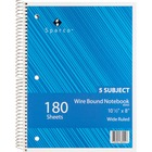 """Sparco Quality Wirebound Wide Ruled Notebooks - 180 Sheets - Wire Bound - Wide Ruled - Unruled - 16 lb Basis Weight - 8"""" x 10 1/2"""" - Bright White Paper - Assorted Cover - Chipboard Cover - Resist Bleed-through, Stiff-back, Subject, Stiff-cover - 1 / Each"""