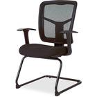 "Lorell ErgoMesh Series Mesh Side Arm Guest Chair - Black Fabric Seat - Black Mesh Back - Cantilever Base - 27"" Width x 27.8"" Depth x 41"" Height - 1 / Each"