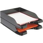 "Deflecto DocuTray Multi-Directional Stacking Tray - 2 Tier(s) - 2.5"" Height x 10.1"" Width x 14"" Depth - Desktop - Black - Polystyrene - 2 / Set"