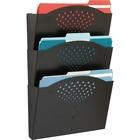 """Safco Triple Letter-Size Steel Wall Pockets - 3 Pocket(s) - 18"""" Height x 12"""" Width x 3.5"""" Depth - Black - Steel - 1 / Each"""