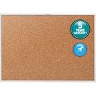 "Quartet Classic Series Bulletin Board - 48"" (1219.20 mm) Height x 72"" (1828.80 mm) Width - Brown Natural Cork Surface - Heavy-gauge, Self-healing, Heavy Duty - Silver Aluminum Frame - 1 Each"