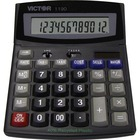 "Victor 1190 Desktop Display Calculator - Easy-to-read Display, Large LCD, Tilt Display, Sign Change, Automatic Power Down, Independent Memory, Battery Backup, Environmentally Friendly, 3-Key Memory - Battery/Solar Powered - 1"" x 5.9"" x 7.8"" - Black - 1 Ea"