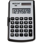 """Victor 908 Handheld Calculator - Big Display, Battery Backup, Independent Memory, Rounded Keytop, Dual Power - 8 Digits - LCD - Battery/Solar Powered - 2.9"""" x 4.4"""" x 0.4"""" - Black - Rubber - 1 Each"""