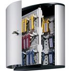 "DURABLE 54 Key Brushed Aluminum Cabinet - 11.9"" x 4.8"" x 11"" - 1 x Front Open Door(s) - Security Lock - Silver - Metallic Silver - Aluminum"