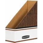 Bankers Box Oversized Magazine File Storage Box - Wood Grain, White - Cardboard