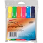 Integra Chisel Desk Liquid Highlighters - Chisel Marker Point Style - Assorted Water Based Ink - Assorted Barrel - 6 / Set