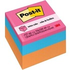 "Post-it® Bright Colors Memo Cube - 400 - 2"" x 2"" - Square - Unruled - Neon - 1 Each"