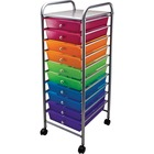 "Advantus 10-drawer Organizer - 15.5"" x 13"" x 37.5"" - 10 x Drawer(s) - Locking Casters - Multicolor"