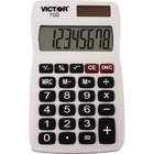 "Victor 700 Pocket Calculator - 4 Functions - Large LCD, Easy-to-read Display, Rubber Keytop, Dual Power - 8 Digits - LCD - Battery/Solar Powered - 0.3"" x 2.3"" x 4"" - Gray - Rubber - 1 Each"