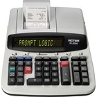 "Victor PL8000 Thermal Printing Calculator - 8 - Date, Clock, Heavy Duty, Backlit Display, Durable, Independent Memory, 4-Key Memory - AC Supply Powered - 4"" x 8.8"" x 13.5"" - Gray, White - 1 Each"