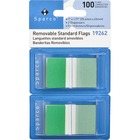 """Sparco Removable Standard Flags Dispenser - 100 x Green - 1.75"""" x 1"""" - Rectangle - Green - See-through, Self-adhesive, Removable - 100 / Pack"""