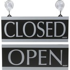 """HeadLine Century Series Open /Closed Sign - 1 / Each - Open/Closed Print/Message - 13"""" (330.20 mm) Width x 5"""" (127 mm) Height - Rectangular Shape - Silver Print/Message Color - Both Sides Display - Black"""