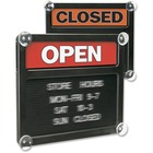 """HeadLine Open/Closed Letter Board Sign - 1 / Each - Open/Closed Print/Message - 15"""" (381 mm) Width x 13"""" (330.20 mm) Height - Rectangular Shape - White, Black Print/Message Color - Both Sides Display - Black"""
