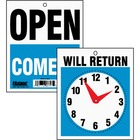 """HeadLine Will Return Clock Hands Signs - 1 Each - Open, Come In, Will Return Print/Message - 7.50"""" (190.50 mm) Width x 9"""" (228.60 mm) Height - Black, White Print/Message Color - Both Sides Display, Customizable Time - Plastic - Blue, Red"""