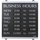 """HeadLine Century Business Hours Sign - 1 / Each - Business Hour Print/Message - 13"""" (330.20 mm) Width x 14"""" (355.60 mm) Height - Silver Print/Message Color - Customizable Time - Plastic - Black"""