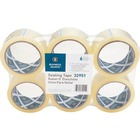 "Business Source 3"" Core Sealing Tape - 55 yd (50.3 m) Length x 1.88"" (47.6 mm) Width - 3"" Core - Pressure-sensitive Poly - 2 mil - Adhesive Backing - 6 / Pack - Clear"