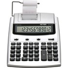 "Victor 12123A Printing Calculator - 2.7 - Extra Large Display, Date, Clock, Environmentally Friendly, Item Count, 4-Key Memory, Independent Memory, Dual Power - Battery/Power Adapter Powered - 2.5"" x 7.8"" x 9.8"" - White, Silver - Plastic - 1 Each"