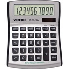 """Victor 11003A Mini Desktop Calculator - Large Display, Angled Display, Dual Power, Independent Memory, Environmentally Friendly, Battery Backup - Battery/Solar Powered - Battery Included - 1.1"""" x 4.5"""" x 5"""" x 5"""" - White, Blue, Silver - Plastic - 1 Each"""