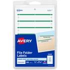 "Avery® File Folder Labels, Permanent Adhesive, Green, 1/3 Cut, 252 Labels - Permanent Adhesive - 11/16"" Width x 3 7/16"" Length - Rectangle - Laser, Inkjet - Green - 7 / Sheet - 252 / Pack"