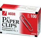 "Acco Paper Clips - No. 3 - 0.94"" (23.88 mm) Length - 10 Sheet Capacity - Galvanized, Corrosion Resistant - 100/bx - Silver - Metal, Zinc Plated"