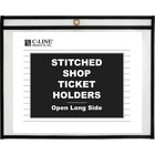 """C-Line Side Load Stitched Shop Ticket Holders - Support 9"""" (228.60 mm) x 12"""" (304.80 mm) Media - Vinyl - 25 / Box - Black, Clear"""