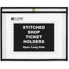 "C-Line Side Load Stitched Shop Ticket Holders - Support 8.50"" (215.90 mm) x 11"" (279.40 mm) Media - Vinyl - 25 / Box - Black, Clear"