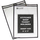"C-Line Stitched Vinyl Shop Ticket Holders - Support 11"" (279.40 mm) x 17"" (431.80 mm) Media - Vinyl - 25 / Box - Black, Clear"