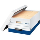 "Bankers Box Presto File Storage Box - Internal Dimensions: 15"" (381 mm) Width x 24"" (609.60 mm) Depth x 10"" (254 mm) Height - External Dimensions: 16"" Width x 25.4"" Depth x 10.5"" Height - 800 lb - Lift-off Closure - Heavy Duty - Stackable - White, Blue -"