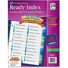"""Avery® Avery Double Column 24 Tab Dividers, Customizable TOC, 1 Set (11321) - 1-24, Table of Contents - 24 Tab(s)/Set - 8.50"""" Divider Width x 11"""" Divider Length - 3 Hole Punched - White Paper Divider - Multicolor Paper Tab(s) - 1"""