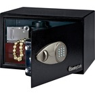 "Sentry Safe Small Security Safe with Electronic Lock - 14.16 L - Key Lock - 2 Live-locking Bolt(s) - Internal Size 8.5"" x 13.6"" x 8.6"" - Overall Size 8.7"" x 13.8"" x 10.6"" - Black - Steel"