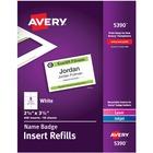 """Avery® Name Badge Insert Refills, 2-1/4"""" x 3-1/2"""" , 400 Inserts - 2 1/4"""" Width x 3 1/2"""" Length - Laser, Inkjet - White - Card Stock - 400 / Box"""