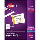 """Avery® Name Badge Insert Refills, 3"""" x 4"""" , 300 Inserts - 3"""" Width x 4"""" Length - Rectangle - Laser, Inkjet - White - Card Stock - 300 / Box"""