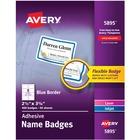 "Avery® Name Badge Label - Removable Adhesive - 2 21/64"" Width x 3 3/8"" Length - Rectangle - Laser, Inkjet - White, Blue - Film - 8 / Sheet - 400 / Box"