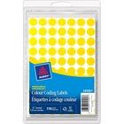 Avery® Coding Label - Removable Adhesive Length - Circle - Laser, Inkjet - Yellow - 770 / Box