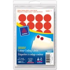 Avery® Coding Label - Removable Adhesive Length - Circle - Laser, Inkjet - Red - 480 / Box