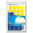 Avery® Coding Label - Removable Adhesive Length - Circle - Laser, Inkjet - Yellow - 480 / Box