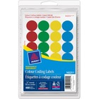 Avery® Color Coded Label - Removable Adhesive Length - Circle - Laser, Inkjet - Assorted - 288 / Box