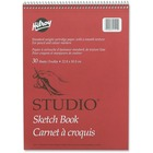 """Hilroy Professional Studio Sketch Book - 30 Sheets - Plain - Coilock - 9"""" x 12"""" - White Paper - Perforated, Easy Tear - 1Each"""