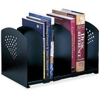 "Safco Five-Section Adjustable Book Rack - 5 Divider(s) - 9.3"" Height x 15.5"" Width x 9"" Depth - Desktop - Black - Steel - 1Each"